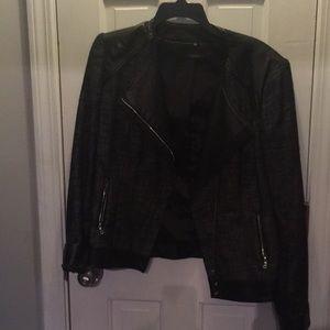 Tahari moto jacket size 12. Tweed/faux leather